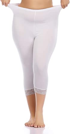 Jan C Lebouef Women's Plus Size Capri Leggings Stretch Lace Trim Solid Cropped Leggings Pants