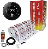 Nassboards Premium Pro - Kit Beca de Calefacción Eléctrica Por Suelo Radiante Caja Roja de 200 W - 5.0m² - Termostato Beca Negro WiFi Forma Redonda - Termostato Negro WiFi Inalámbrico