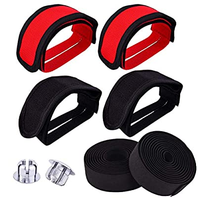 WXJ13 2 Pair Bike Pedal Straps Pedal Bicyle Toe Clips Straps for Fixed Gear Bike, with 1 Pair Bicycle Handlebar Tape
