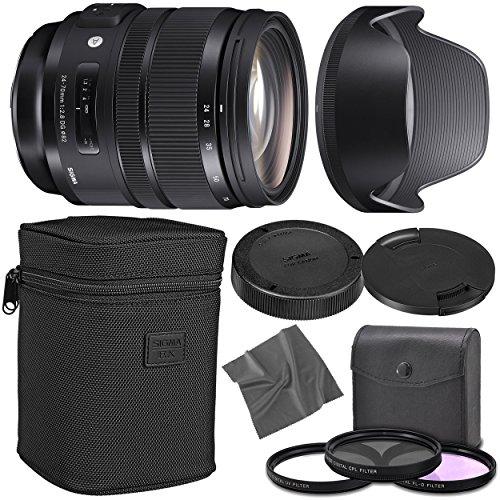 Sigma 24-70mm f/2.8 DG OS HSM Art Lens for Nikon F with AOM Starter Kit, Sigma Case, Hood, Ultraviolet Filter (UV) Polarizing Filter (CPL) Fluorescent Daylight Filter (FL-D) - International Version