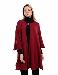 Andora Toggle-Button Solid Wool Poncho for Women