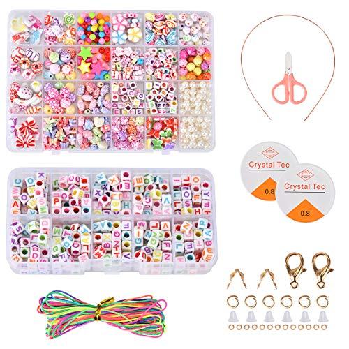 Queta Perlen Zum Auffädeln,DIY Perlen Set Armbänder Selber Machen Kinder,Buchstaben Perlenschmuck Schmuckbasteln,Ketten Basteln Geschenk für Mädchen