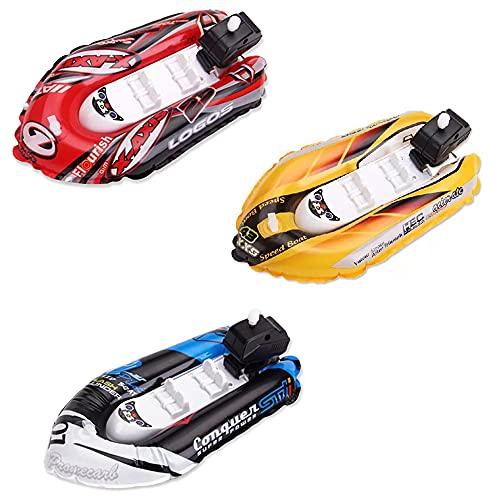 ZoneYan 3 Stück Badewanne Boot Spielzeug, Spielzeug Boot zum Aufziehen, Motorboot Spielzeug Kinder, Aufblasbare Yacht, Schnellboot Kinder, Wasserspielzeug, Zufälliges Rot, Gelb und Blau