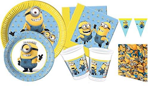 Kit 16invitados cumpleaños Minions Lovely con guirnalda coordinato Tabla platos vasos servilletas (16platos cm 23, 16platos cm 19,5, 16vasos, 20servilletas, 1mantel, 1guirnalda banderín)