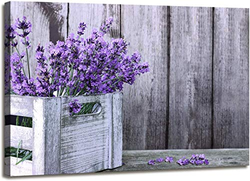 QINGYI Canvas Wall Art Animal Resting Purple Lavender Flowers on Vintage Wall Pictures Giclee Wall Decor on Canvas Stretched Artwork …
