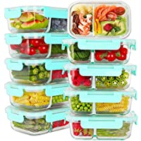 10-Pack Bayco Glass Meal Prep Containers 2 Compartment