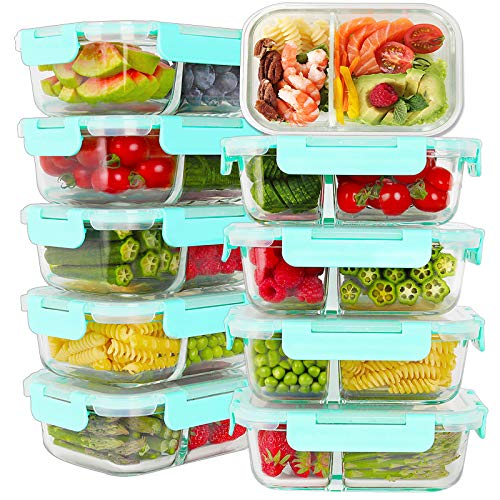Bayco 10 Pack Glass Meal Prep Containers 2 Compartment