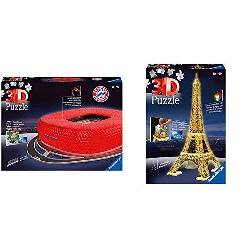 Ravensburger 3D Puzzle Allianz Arena bei Nacht, FC Bayern München Fanartikel für Kinder ab 10 und Erwachsene & 3D Puzzle Eiffelturm bei Nacht mit 216 Teilen, Wahrzeichen von Paris im Miniatur-Format