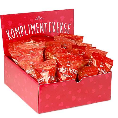 25-er Box Kompliment-Kekse | Glückskekse für Silvester, Hochzeit, Geburtstag, Valentinstag, Muttertag, Geschenk für die beste Freundin, liebsten Kollegen | frisch gebacken, vegan, made in Germany