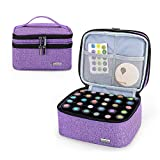 Luxja Essential Oil Carrying Case - Holds 30 Bottles (5ml-30ml, Also Fits for Roller Bottles), Double-Layer Organizer for Essential Oil and Accessories, Purple (Bag Only)