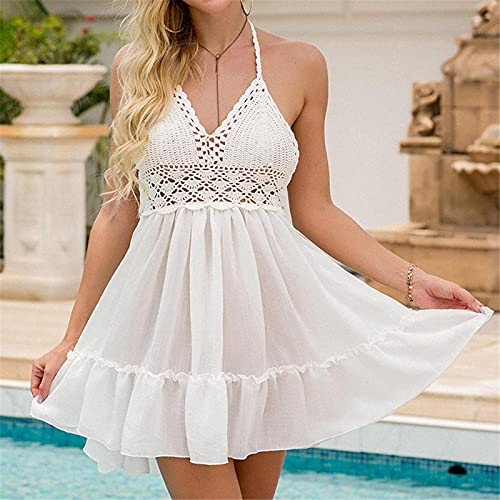Túnica De Crochet Blanca Sexy Beach Cover Up Bikini Traje De Baño Encubrimientos Vestido De Playa Ropa De Playa Ropa De Playa Mujer Mujer M Blanco