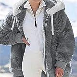 BWSR Fuzzy Fleece Jacket Women,Warm Fuzzy Hoodies (Dark Gray,3XL)
