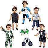 ZITA ELEMENT Set 7 Stück Puppenzubehör für 43cm 45-46cm Spielpuppe und American 17-18 Zoll Boy...