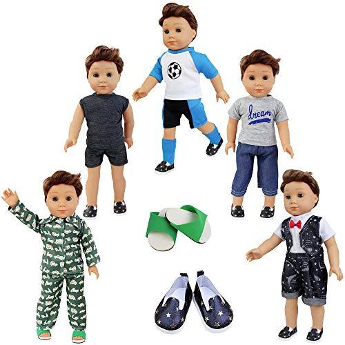 ZITA ELEMENT Set 7 Stück Puppenzubehör für 43cm 45-46cm Spielpuppe und American 17-18 Zoll Boy Girl Puppen Kleidung Mann 5 Set Freizeit Bekleidung mit 2 Paare Schuhe