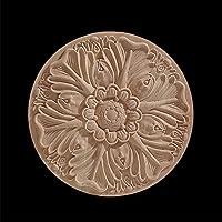 丸い花の絶妙な彫刻天然木アップリケ家具木製モールディングヴィンテージ未塗装アクセサリー装飾デカール、Y3,10