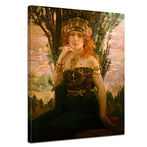 Leinwandbild Gaston Bussière Helena von Troja - 50x70cm hochkant - Wandbild Alte Meister Kunstdruck Bild auf Leinwand Berühmte Gemälde