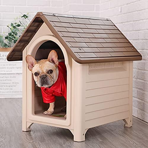 DHYBDZ Caseta de plástico para Perros, caseta para Perros Resistente al Agua para Perros pequeños a medianos, Refugio para Cachorros de Interior...
