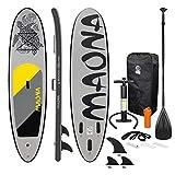 ECD Germany Tabla Hinchable Maona Paddle Surf/Sup 308 x 76 x 10 cm Gris Stand up Paddle Board PVC hasta 120kg 3 Aletas deslizantes Diferentes Modelos Incl Paleta Aluminio Bomba y Accesorios