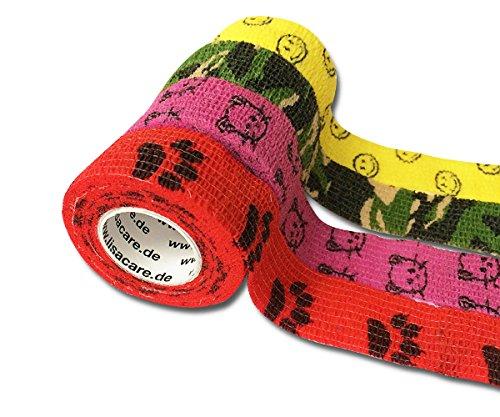 LisaCare selbsthaftender Wundverband - elastisches, wasserfestes, staub- fett- und schmutzabweisendes Pflaster - bunt mit Motiven - 4 Rollen á 2,5cm x 4,5
