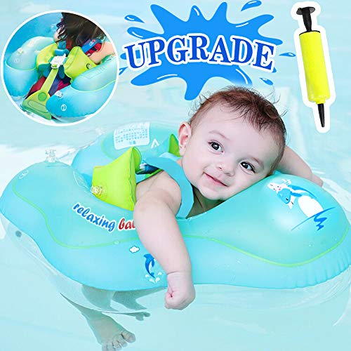 【Anti-Slip Crotch】Baby Swimming Float Ring - Baby Spring Floats Swim Trainer Newborn Baby Kid Toddler Age 3-10 Month (11 - 22lbs) Summer Outdoor Beach Water Bath Toy Swimming Pool Accessories