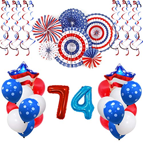 Amosfun USA Unabhängigkeitstag Party Dekoration 4. Juli Amerikanische Flagge Latex Ballons Papier Fans Hängen Strudel