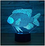 Tilapia Luz de noche 3D LED lámpara de ilusión Luz de Noch