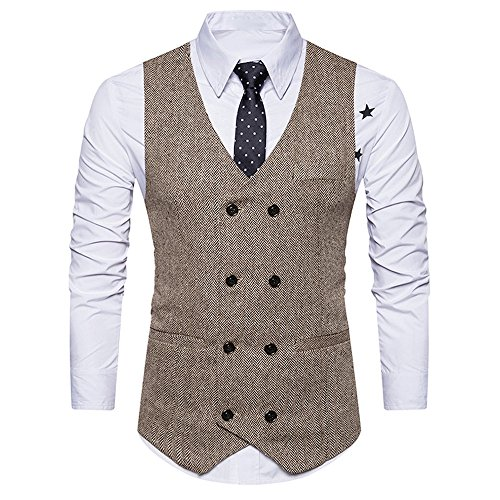 iYYVV Mens Formal Tweed Check Double Breasted Waistcoat Retro Slim Suit Jacket Khaki