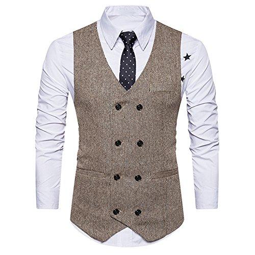 VEMOW Heißer Hübsche Männer Formale Tweed Check Zweireiher Weste Retro Casual Täglichen Party Business Slim Fit Anzugjacke(Türkis, 52 DE/XXL CN)
