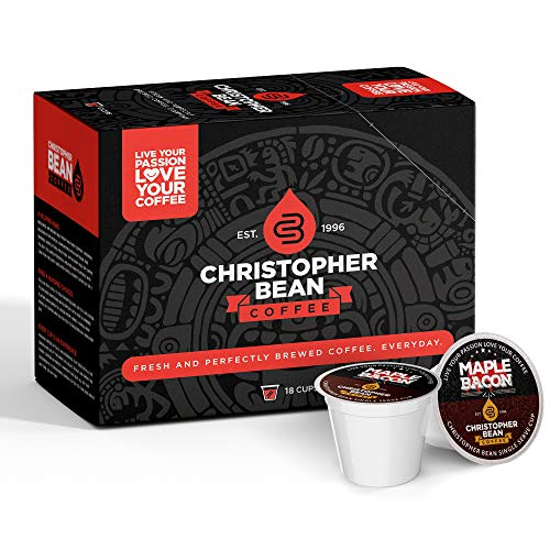 Maple Bacon Single Coffee Cup, (Regular) 100% Recyclable Single Serve Flavored K-Cup, 100% Arabica, No Sugar, No Fats, Non-GMO, 18 Cups of Regular Coffee Per Box – Christopher Bean