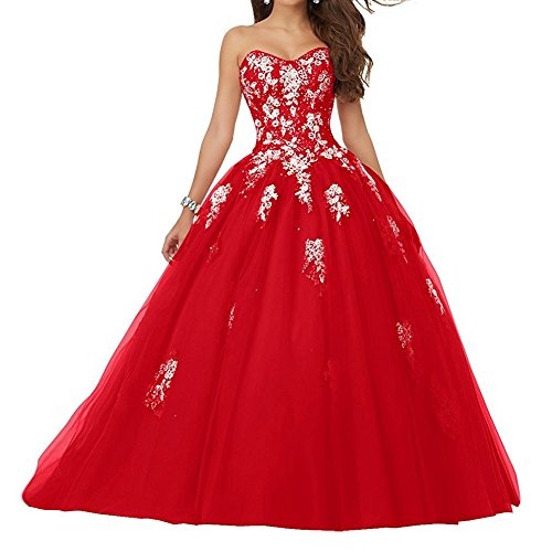 JAEDEN Robe de mariée Robe de Quinceanera Longue Robe de Bal Robe de soirée Tulle sans Bretelles Rouge EUR44