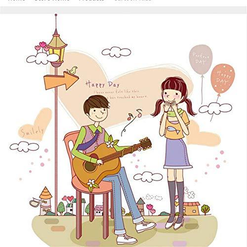 Zlxzlx DIY huisdecoratie meisje luisteren naar jongen spelen gitaar Cartoon Coup muur Stickers slaapkamer stickers decoratie