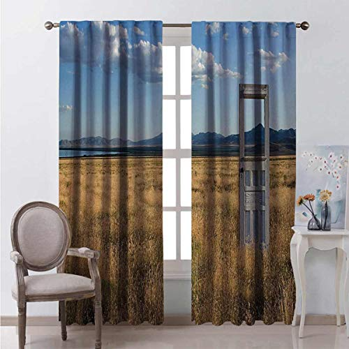 Toopeek Antique Bedroom Rod Pocket Blackout Curtains Old Door Standing Alone in Field with Mountains Summer Sky Surreal Living Room Color Curtains 2 Panels W84 x L84 Inch Blue Earth Yellow Coconut