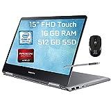 Samsung Notebook 9 Pro 2 in 1 Laptop 15' FHD Touchscreen 8th Gen Intel Quad-Core i7-8550U 16GB DDR4 512GB SSD 2GB AMD Radeon 540 Backlit KB USB-C Pen Win 10 + ePark Wireless Mouse