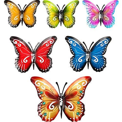 6 Stücke Metall Schmetterling Wand Kunst Metall Schmetterlinge Wand Dekoration Skulptur 3 Größen Inspirierende Wand Behang Schmetterling für Indoor und Outdoor Dekoration, 6 Farben