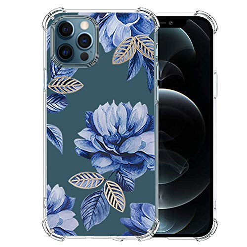 Girls-iPhone-12-Pro-Max-Case with Glass Screen Protector, Cute Design Transparent Flower for Girls Women Best Protective Slim Fit Clear-TPU-Soft-Silicone-Cover-Phone-Case for iPhone 12 Pro Max (2)