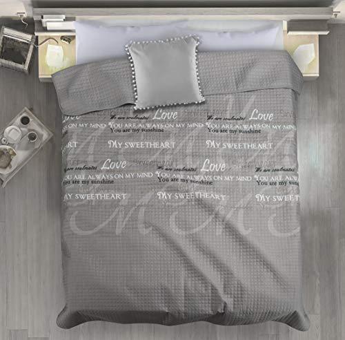 Eurofirany Couvre-lit 170 x 210 cm Lenny à carreaux gris, blanc, beige, jeté de lit My Sweetheart