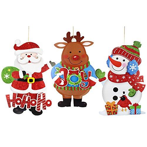 Ritagli appesi di Natale, confezione da 3 pezzi di ornamento natalizio, pupazzo di neve di Babbo Natale Alci di Natale decorazioni appesi per finestre, porte, part