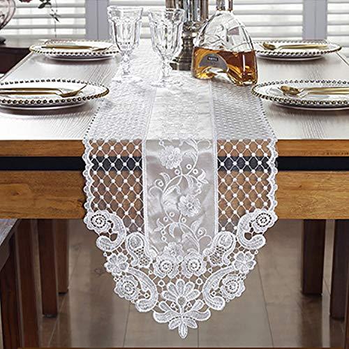 LZDseller01 Camino de mesa de encaje, patrón floral bordado, elegante y romántico crochet blanco mantel de encaje para el hogar, fiesta, comedor decorativo, No nulo, Blanco, 30*70cm