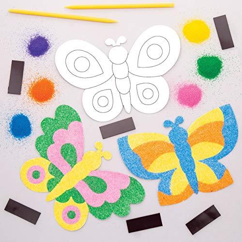 """Baker Ross Sandkunst-Bastelset """"Schmetterling"""" mit Magneten (6 Stück) – für Kinder zum Basteln"""