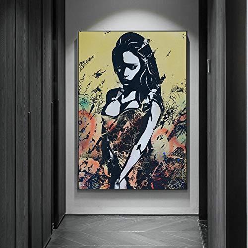 Wall Art Graffiti Canvas Poster Print Painting Street Art Girl Art on Canvas Imagen de pared para sala de estar Decoración del hogar 50x70cm (20x28in) Sin marco