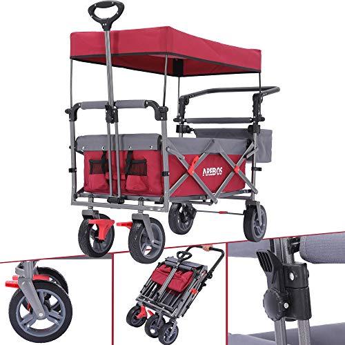 Arebos Bollerwagen Premium faltbar mit Dach | Handwagen | Transportwagen | klappbar | bis 100 kg | Vorder- und Hinter-Bremse | Rot