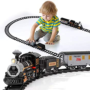 Lucky Doug Electric Train Set for Kids Battery-Powered Train Toys with Sounds Include 4 Cars and 10 Tracks Classic Toy Train Set Gifts for 3 4 5 6 Years Old Boys Girls