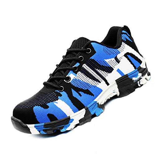 DoGeek Zapato Seguridad Camo Calzado Seguridad Hombre con Punta de Acero, Antideslizante Transpirables, Unisex, Azul, 42