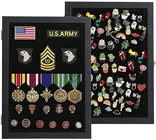 VERANI Pin Display Case - 14x19 Pin Collection Display with 98% Uv Protection Acrylic Door for Military Medals, Beach Tags, Jewelry Pins, Pin Gift, Insignia Ribbons, Pin Enthusiast Collectibles, Black