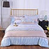 chuanglanja Copripiumini Matrimoniali 1.8m Cama Doble Verano Hielo Seda Cuatro Piezas Sedoso Desnudo durmiendo Azul Rosa