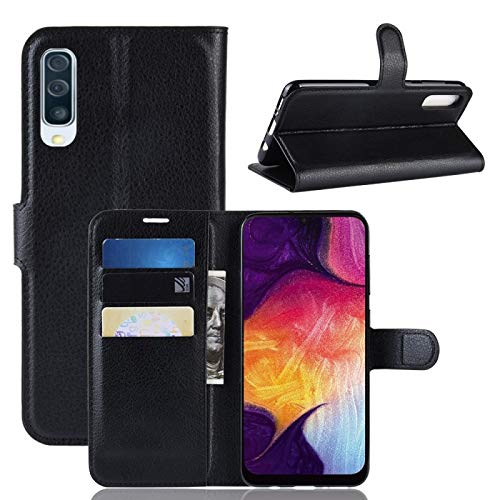 COPHONE Handyhülle Schwarz Kompatibel Samsung Galaxy A50 Hülle Leder, Samsung Galaxy A50 Klapphülle Handytasche Hülle für Samsung Galaxy A50 Handy Hüllen