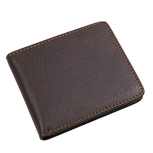 Gbcyp lederen portemonnee mode korte bi-vouw mannen casual solide portemonnee met foto slot mannen portemonnee