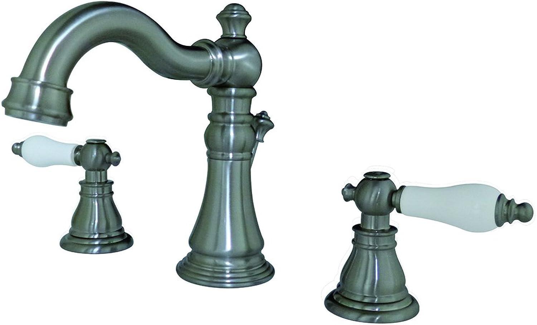 Kingston Brass FSC1978APL American Patriot Widespread Lavatory Faucet, 5-5 16  Spout Reach, Satin Nickel