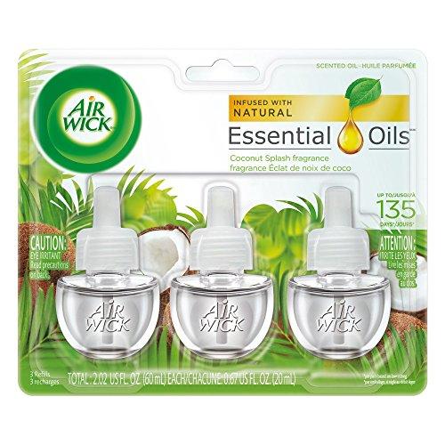 Air Wick plug in Scented Oil 3 Refills, Coconut Splash, (3x0.67oz), Essential Oils, Air Freshener