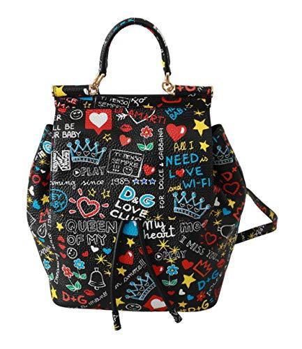 Dolce & GabbanaBlack Multicolor Leather Backpack